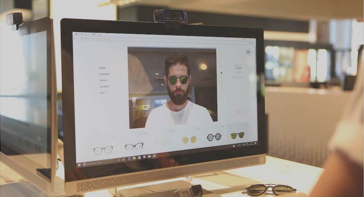 Essai virtuel de lunettes optiques et lunettes solaires